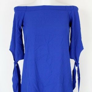 NWT Bar III Blue Off the Shoulder Blouse Size XXS